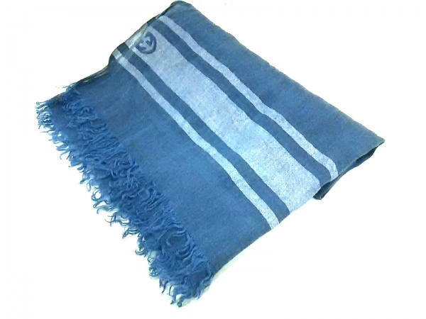 GUCCI(グッチ) ストール(ショール) ブルー×白 麻×コットン