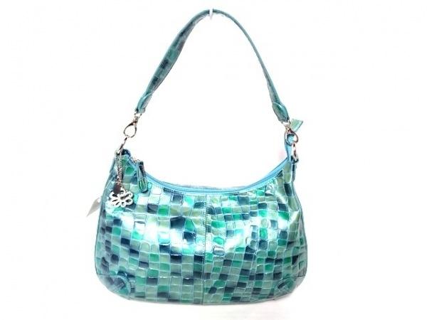 COCCO FIORE(コッコフィオーレ) ハンドバッグ美品  ライトブルー×ブルー×グリーン