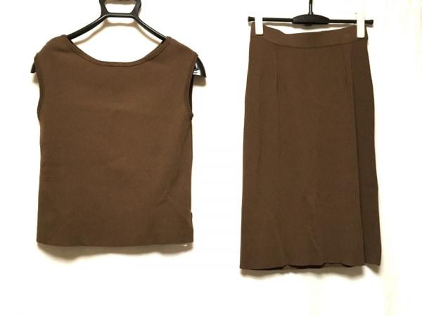プラステ スカートセットアップ サイズS レディース美品  ダークブラウン