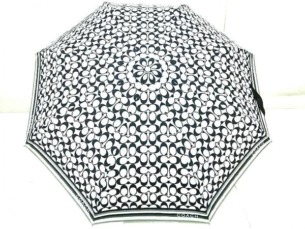 コーチ 折りたたみ傘 シグネチャー柄 ライトグレー×黒 ワンタッチ式 ポリエステル