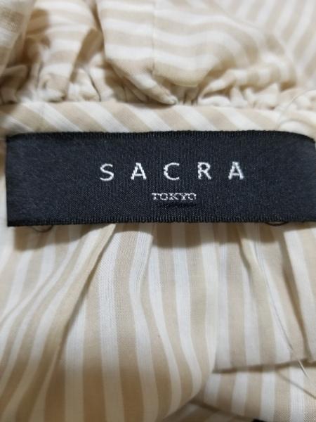 SACRA(サクラ) ノースリーブカットソー サイズ38 M レディース ベージュ×アイボリー