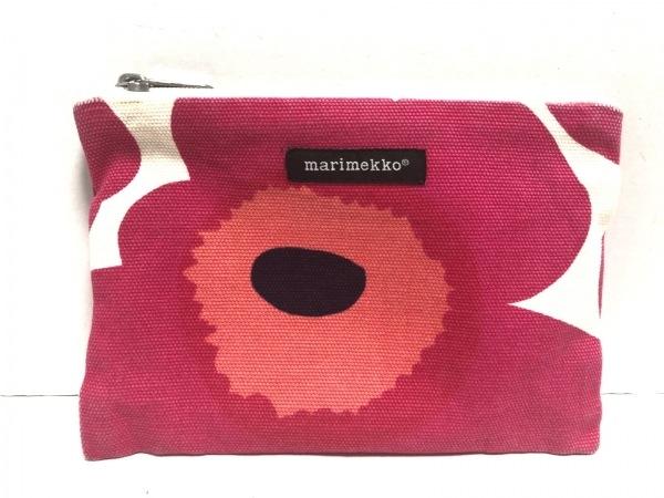 marimekko(マリメッコ) 小物入れ アイボリー×ピンク×マルチ 花柄 キャンバス