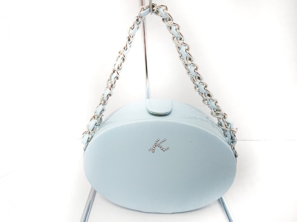 KITAMURA(キタムラ) ハンドバッグ美品  ライトブルー ラインストーン