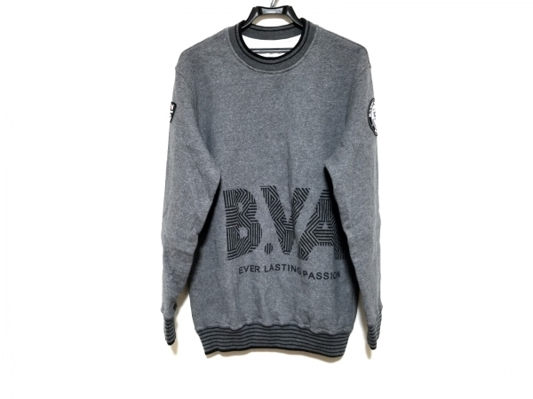バーニヴァーノ トレーナー サイズM メンズ美品  ダークグレー×黒 BLACK VARNO
