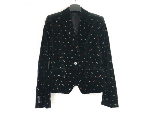 ポールスミスブラック ジャケット サイズ42 L レディース 黒×レッド×マルチ 刺繍