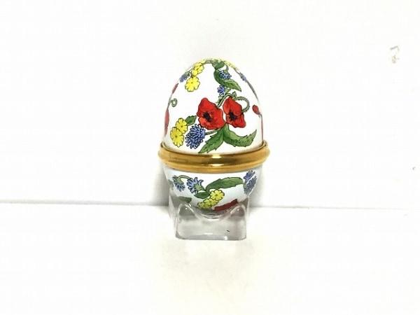 ハルシオンデイズ 小物入れ美品  白×レッド×ゴールド×マルチ 卵型 陶器×金属素材