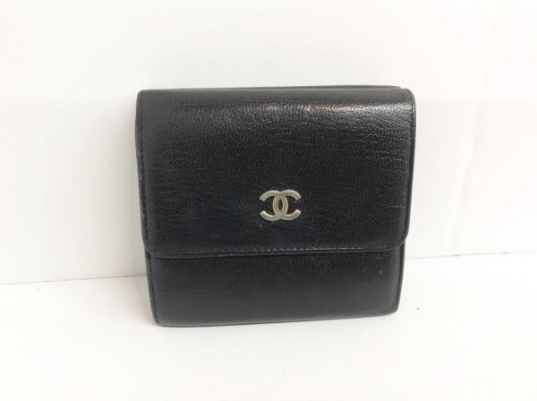 CHANEL(シャネル) Wホック財布 - 黒 シルバー金具 レザー