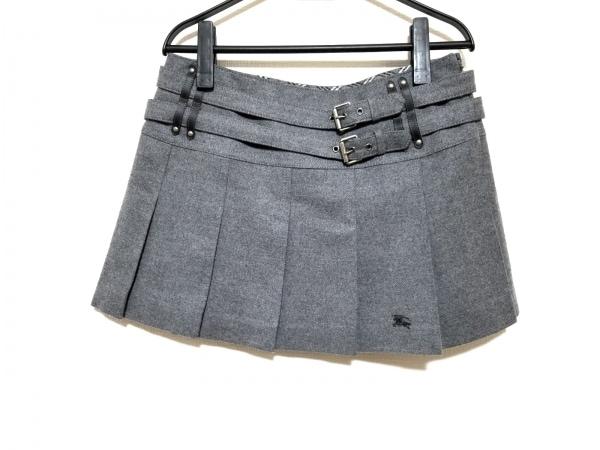 バーバリーブルーレーベル ミニスカート サイズ38 M レディース美品  グレー プリーツ