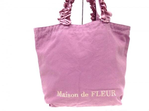 メゾンドフルール トートバッグ ピンク フリル キャンバス×化学繊維