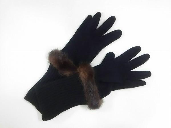 アルチザン 手袋 レディース美品  黒×ダークブラウン ファー ウール×ミンク