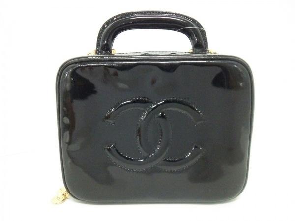 CHANEL(シャネル) ハンドバッグ - 黒 ココマーク/ゴールド金具 エナメル(レザー)