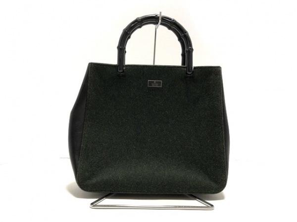 グッチ ハンドバッグ バンブー 0021061 ダークグレー×黒 化学繊維×レザー×ウッド