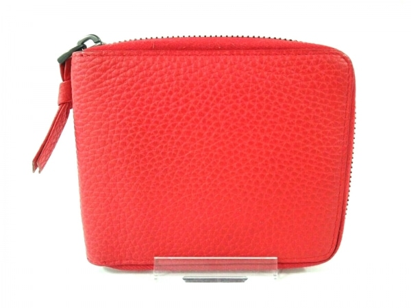ボッテガヴェネタ 2つ折り財布 - B00518653P レッド ラウンドファスナー レザー
