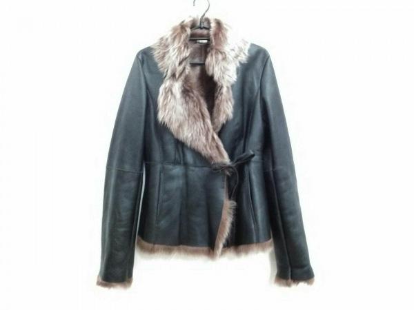 HUGOBOSS(ヒューゴボス) コート サイズ40 XL レディース 黒×ブラウン ムートン/冬物