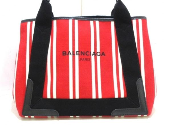 バレンシアガ トートバッグ ネイビーカバS 339933 レッド×アイボリー×黒 ストライプ