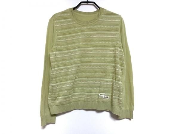 レリアン 長袖セーター サイズ13 L レディース ライトグリーン×グリーン×マルチ