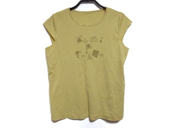 Leilian(レリアン) Tシャツ サイズ11 M レディース イエロー 刺繍/ラインストーン