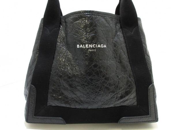 バレンシアガ トートバッグ美品  ネイビーカバS 339933 黒 レザー×キャンバス