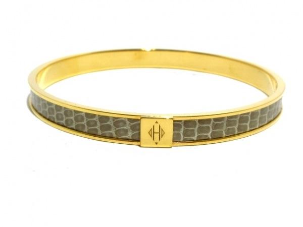 HERMES(エルメス) バングル美品  カワイイ 金属素材×リザード ゴールド×カーキ