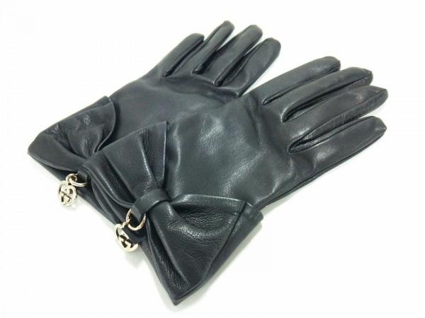 GUCCI(グッチ) 手袋 7 1/2 レディース美品  ラブリー 黒 レザー レザー