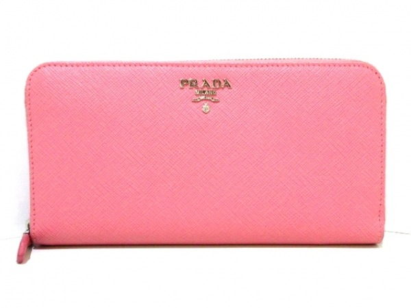 PRADA(プラダ) 長財布美品  - 1M0506 ピンク ラウンドファスナー レザー