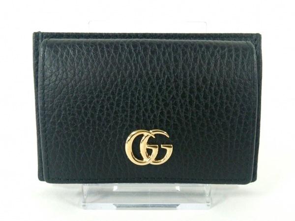 グッチ カードケース新品同様  GGマーモント 497988 黒 コインケース付き レザー