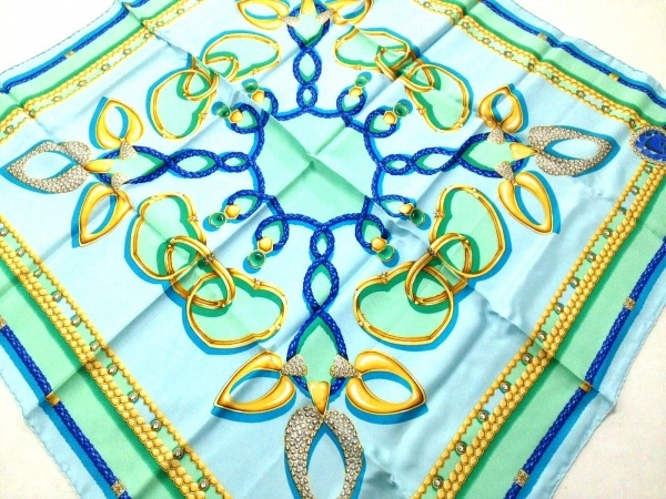 PIAGET(ピアジェ) スカーフ美品  ライトブルー×グリーン×マルチ