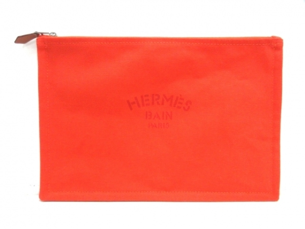 HERMES(エルメス) ポーチ美品  ヨッティングGM 102501M 01 オレンジレッド キャンバス