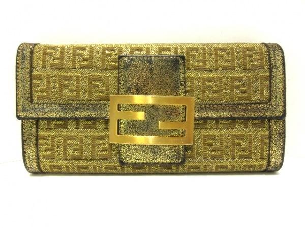 FENDI(フェンディ) 長財布 ズッキーノ柄 8M0021 ゴールド×ライトブラウン