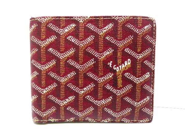 GOYARD(ゴヤール) 2つ折り財布美品  ボルドー×マルチ コーティングキャンバス
