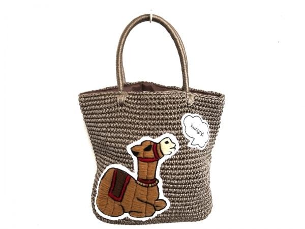 LUDLOW(ラドロー) トートバッグ美品  ブラウン×マルチ ラクダ 化学繊維×ウール