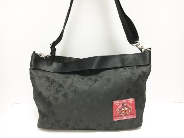 ヴィヴィアンウエストウッド ハンドバッグ 黒 2WAY ナイロン×化学繊維