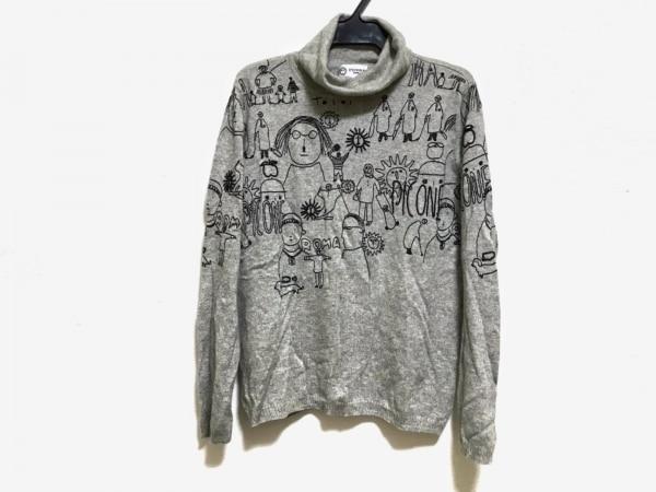 PICONE(ピッコーネ) 長袖セーター サイズ40 M レディース美品  ライトグレー×黒
