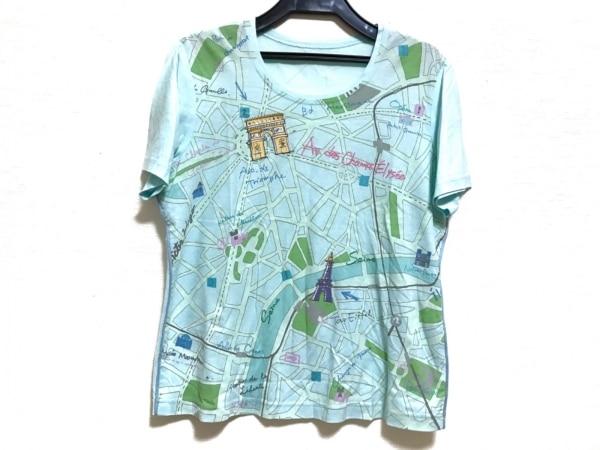レリアン 半袖Tシャツ サイズ11 M レディース ライトブルー×アイボリー×マルチ
