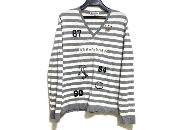 PICONE(ピッコーネ) 長袖セーター サイズ40 M レディース グレー×アイボリー×黒