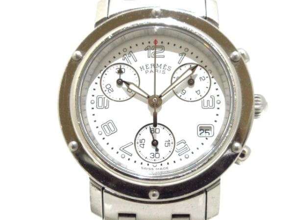 HERMES(エルメス) 腕時計 クリッパークロノ CL1.310 レディース クロノグラフ 白