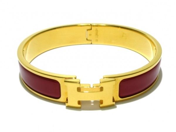HERMES(エルメス) バングル クリッククラック 金属素材 ゴールド×ボルドー