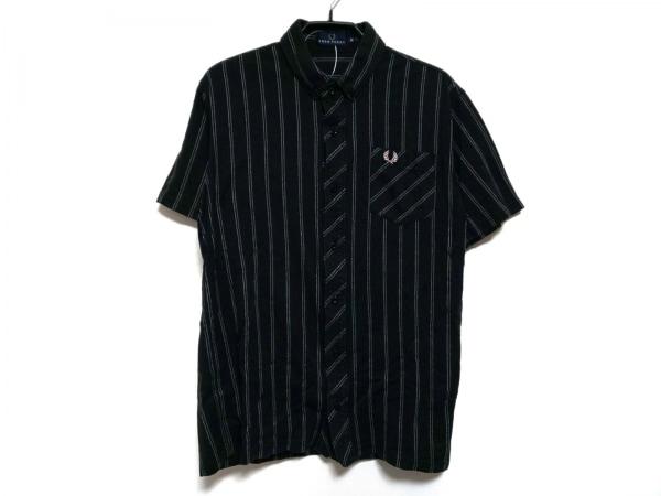 FRED PERRY(フレッドペリー) 半袖シャツ サイズ0 XS メンズ 黒×白 ストライプ