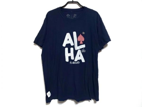 ビームスプラス 半袖Tシャツ サイズL メンズ ネイビー×白×レッド