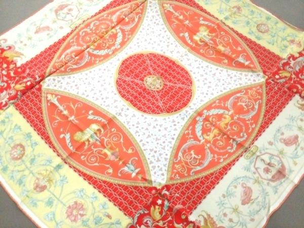 ETRO(エトロ) スカーフ美品  白×レッド×マルチ シルク