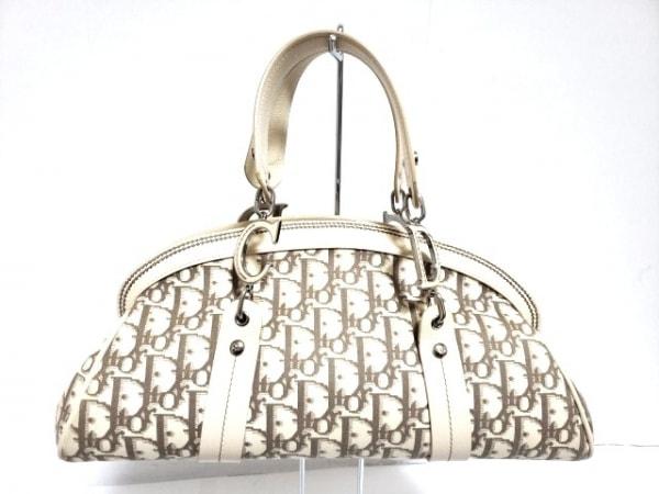 クリスチャンディオール ハンドバッグ フラワー ベージュ×マルチ 刺繍