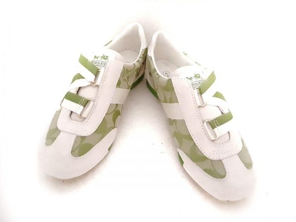 コーチ シューズ 5 1/2 レディース シグネチャー柄 白×ライトグリーン×グリーン