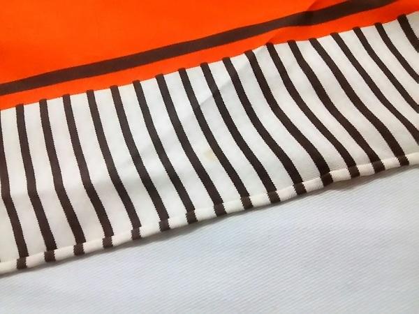 イヴサンローラン スカーフ ダークブラウン×オレンジ×マルチ 4