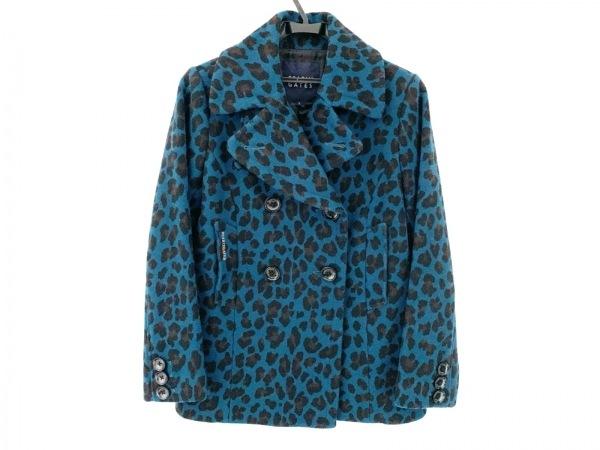 パーリーゲイツ コート サイズ1 S レディース ブルー×黒×ブラウン 豹柄