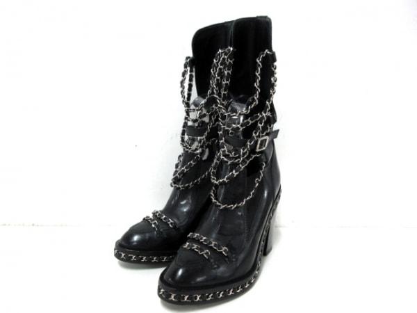 シャネル ブーツ 37 レディース 黒×シルバー チェーン装飾/2013AW/サイドゴア