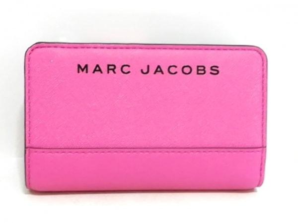 マークジェイコブス 2つ折り財布美品  ピンク×黒 レザー 1