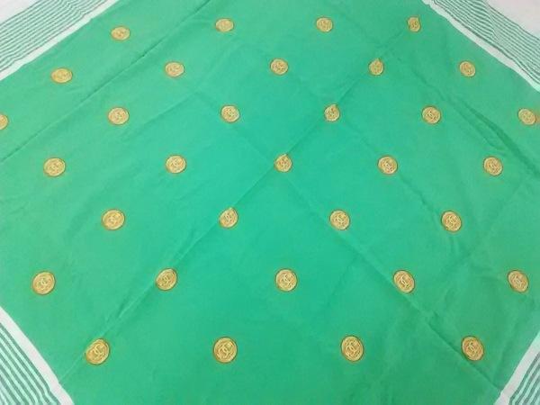 CHANEL(シャネル) スカーフ アイボリー×グリーン×ゴールド ココマーク