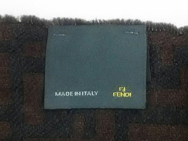 FENDI(フェンディ) マフラー ズッカ柄 ダークブラウン×黒 ウール
