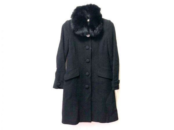 LAISSE PASSE(レッセパッセ) コート サイズ32 XS レディース 黒 冬物/ビジュー/ファー