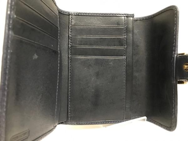 コーチ 3つ折り財布 - カーキ×ダークネイビー ジャガード×レザー 3